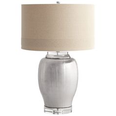 Cyan Design Chrome Radiance Satin Chrome Table Lamp with Drum Shade