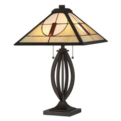 Quoizel Lighting Tiffany Dark Bronze Table Lamp with Square Shade