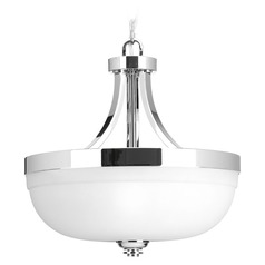 Topsail Polished Chrome Pendant Light with Bell Shade by Progress Lighting