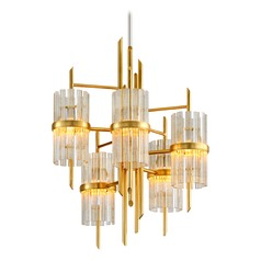 Corbett Lighting Symphony Gold Leaf with Polished Stainless Chandelier