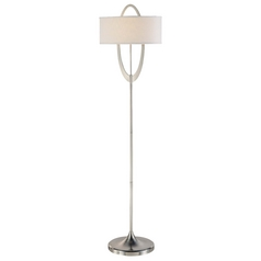 Modern Floor Lamp with White Shade in Brushed Nickel Finish
