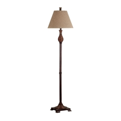 Floor Lamp with Beige / Cream Shade in Natural Reed Finish