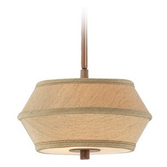 Two-Light Mini-Pendant with Light Brown Shade