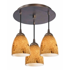 3-Light Semi-Flush Light with Bell Art Glass - Bronze Finish