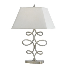 Table Lamp with White Shade in Silver, Foil Finish
