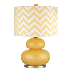 Table Lamp with Yellow Shades in Sunshine Yellow with Polished Nickel Finish