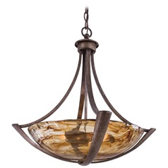 Minka Lighting La Bohem Monarch Bronze Pendant Light with Bowl / Dome Shade