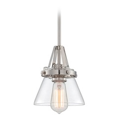 Lite Source Lighting Galileo Polished Steel Mini-Pendant Light with Empire Shade
