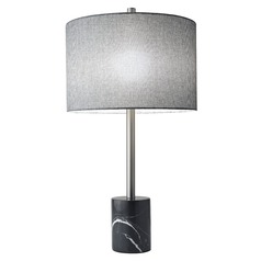 Adesso Home Blythe Brushed Steel Table Lamp with Drum Shade