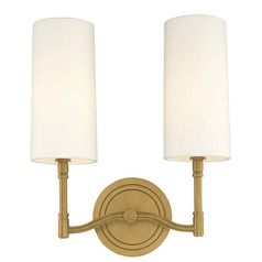 Modern Sconce Wall Light with White Shades in Aged Brass Finish