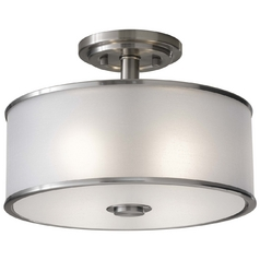 Semi-Flushmount Light with Silver Shade in Brushed Steel Finish