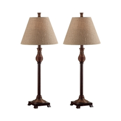 Table Lamp Set with Beige / Cream Shade in Natural Reed Finish