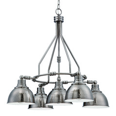 Farmhouse Industrial Chandelier Antique Nickel Timarron by Craftmade Lighting