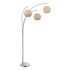 Modern Arc Lamp with Beige / Cream Bamboo Shades in Polished Steel Finish