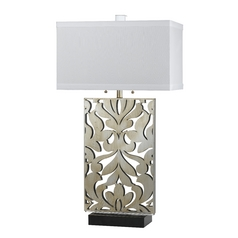 Table Lamp with White Shades in Silver Finish