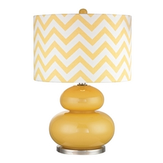 Yellow Table Lamp with Chevron Drum Shade