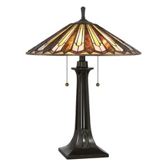 Quoizel Lighting Tiffany Vintage Bronze Table Lamp with Coolie Shade
