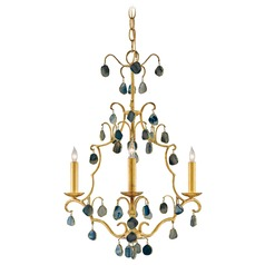 Currey and Company Eudora Antique Gold Leaf/blue Chandelier