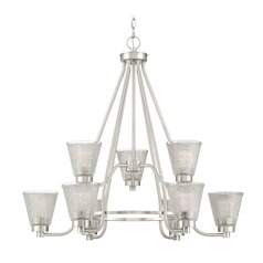 Modern Chandelier Brushed Nickel Ardmore by Quoizel Lighting