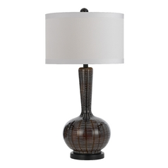 Table Lamp with White Shade in Black, Red Finish