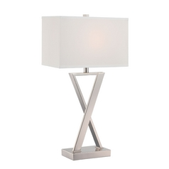 Lite Source Lighting Alexis Chrome Table Lamp with Rectangle Shade