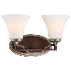 Minka Astrapia Dark Rubbed Sienna with Aged Silver Bathroom Light