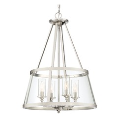 Seeded Glass Pendant Light Polished Nickel Barlow by Quoizel Lighting