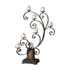 Uttermost Lighting Candle Holder in Aged Black Finish 19395
