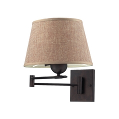 Swing Arm Lamp with Beige / Cream Shade in Aged Bronze Finish