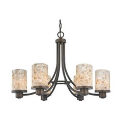 Mosaic Chandelier in Bronze Finish with Cylinder Shades