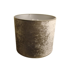 Silver Velour Drum Lamp Shade with Uno Assembly