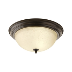 Flushmount Light with Beige / Cream Glass in Antique Bronze Finish