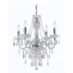 Plug-In Mini-Chandelier with Swag Kit in White Finish