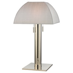 Alba 2 Light Table Lamp Square Shade - Polished Nickel