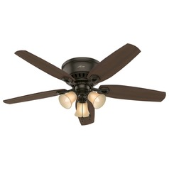 52-Inch Hunter Fan Builder Low Profile New Bronze Ceiling Fan with Light