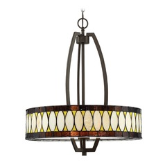 Lite Source Geoffrey Dark Bronze Pendant Light with Drum Shade