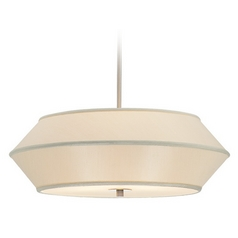 22-Inch Wide Three-Light Pendant with Beige Shade