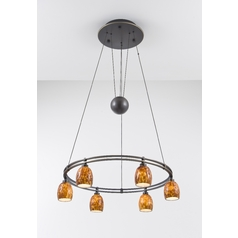 Holtkoetter Modern Low Voltage Pendant Light with Amber Glass in Hand-Brushed Old Bronze Finish