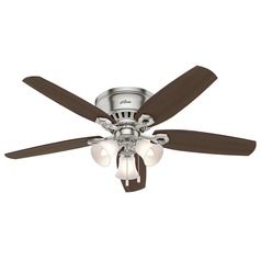 52-Inch Hunter Fan Builder Low Profile Brushed Nickel Ceiling Fan with Light