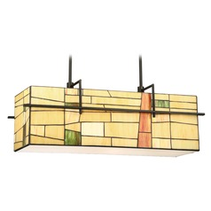 Lite Source Mansur Dark Bronze Island Light with Rectangle Shade