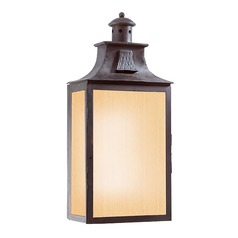 Outdoor Wall Light with Amber Glass in Old Bronze Finish