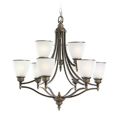 Chandelier with White Glass in Estate Bronze Finish