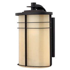 Outdoor Wall Light with Yellow Glass in Museum Bronze Finish