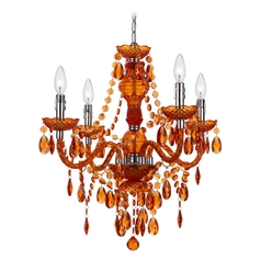 Mini-Chandelier with Swag Kit in Orange Finish