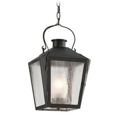 Clear Seeded Frosted Chimney Glass Outdoor Hanging Light Iron Troy Lighting