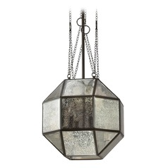 Art Deco Mercury Glass LED Pendant Light Bronze Lazlo by Sea Gull Lighting