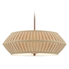 22-Inch Wide Three-Light Pendant with Pleated Shade