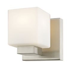 LED Sconce with Square White Glass in Satin Nickel Finish