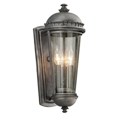 Outdoor Wall Light with Clear Glass in Aged Pewter Finish