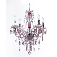 Mini-Chandelier with Swag Kit in Pink Finish